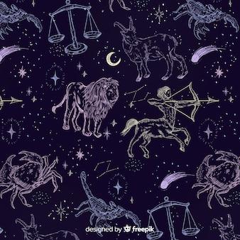 Padrão de zodíaco desenhado de mão realista