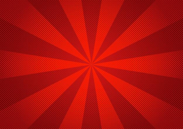 Padrão de zoom de meio-tom do estilo abstrato vermelho dos desenhos animados em quadrinhos.