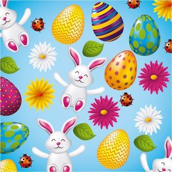 Padrão decorativo coelhos ovos e flores páscoa