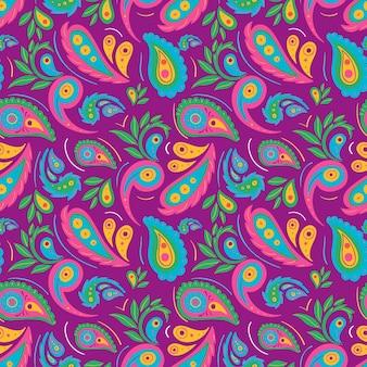 Padrão decorativo colorido de paisley
