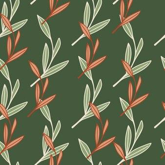 Padrão decorativo de doodle sem costura com formas de folhagem de contorno rosa e branco à base de plantas