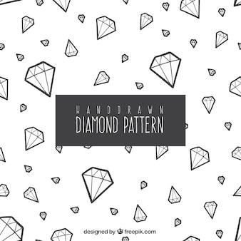 Padrão decorativo de mão desenhada diamantes