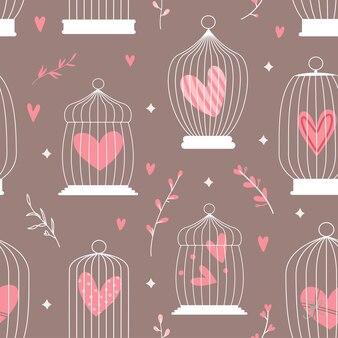 Padrão decorativo de primavera sem costura com gaiolas e corações dentro