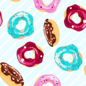 Padrão decorativo sem costura com donuts em estilo de desenho animado.