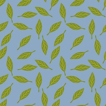 Padrão decorativo sem costura com enfeite simples de pequenas folhas verdes aleatórias