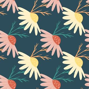 Padrão decorativo sem costura com estampa de flores de camomila doodle