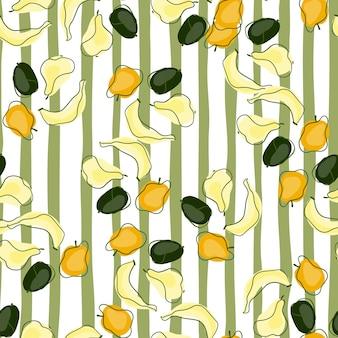 Padrão decorativo sem costura com formas aleatórias de frutas de verão