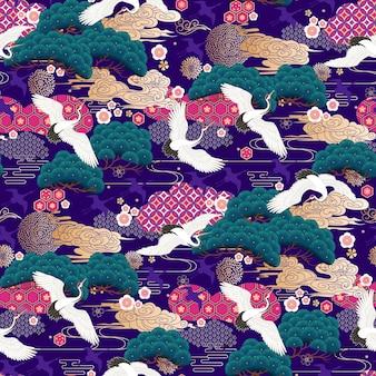 Padrão decorativo sem costura com guindastes japoneses