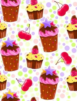Padrão decorativo sem costura com muffins e cerejas em estilo de desenho animado. fundo de bolinhas.