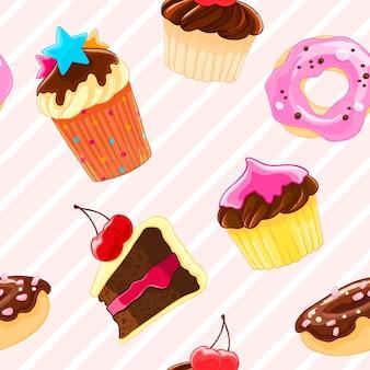 Padrão decorativo sem costura com muffins e rosquinhas em estilo de desenho animado.