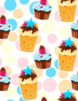 Padrão decorativo sem costura com muffins em estilo de desenho animado. fundo de bolinhas.