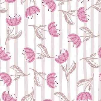 Padrão decorativo sem costura com silhuetas rosa de flores de papoula aleatórias