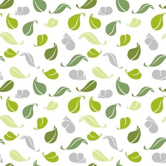 Padrão decorativo sem costura. folhas verdes. padrão com folha de outono, ilustração de folha curva verde
