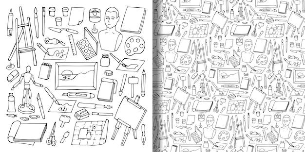 Padrão definido e sem costura com objetos de arte de doodle ilustrações para papel de parede de estampas têxteis