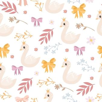 Padrão delicado com cisne e flores