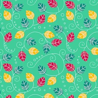 Padrão delicado de folhas coloridas