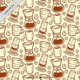Padrão desenhado à mão com máquinas de café e canecas