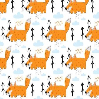Padrão desenhado à mão para crianças com raposa vermelha padrão com raposa fofa e nuvens