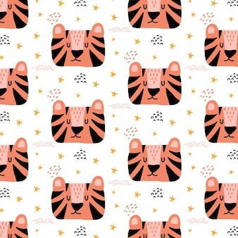 Padrão desenhado à mão para crianças com tigres e estrelas cabeça de tigre fofa