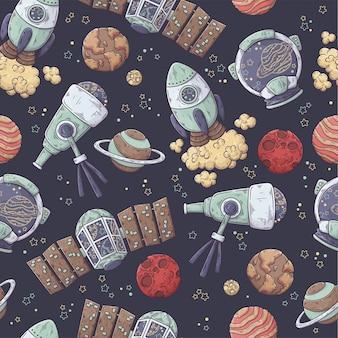 Padrão desenhado de mão da coleção de elementos de espaço