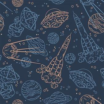 Padrão desenhado de mão dos elementos do espaço