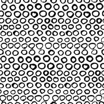 Padrão desenhado de mão gráfico preto e branco sem costura de vetor. doodle de fundo de pontos de tinta
