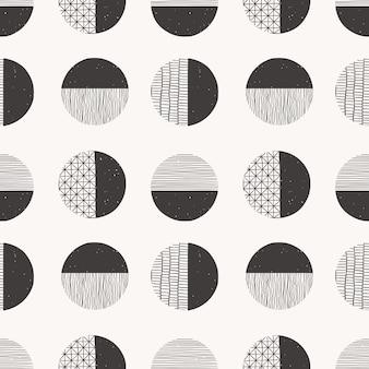 Padrão desenhado de mão sem costura monocromático feito com tinta, lápis, pincel. formas geométricas de doodle de manchas, pontos, traços, listras, linhas.