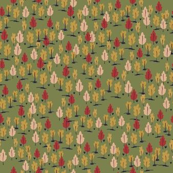 Padrão desenhado de mão sem costura ornamento de pequena floresta. paleta de outono estilizada arte com árvores sobre fundo verde.