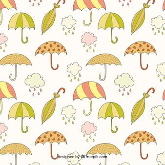 Padrão desenhados mão guarda-chuvas
