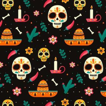 Padrão día de muertos em design plano