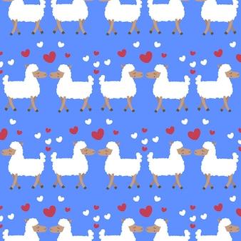 Padrão divertido de duas ovelhas no amor