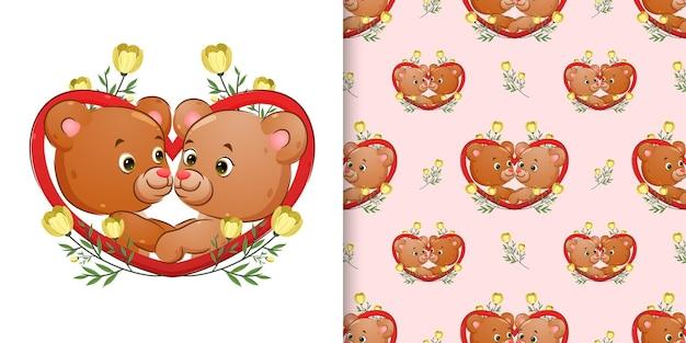 Padrão do casal urso está posando na moldura do amor com o enfeite de flores
