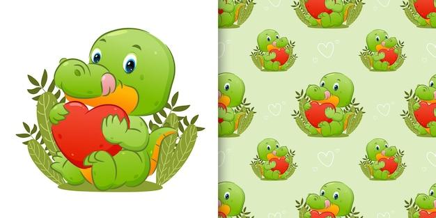 Padrão do crocodilo feliz está sentado e segurando o coração fofo