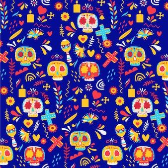 Padrão do dia dos mortos com caveiras coloridas