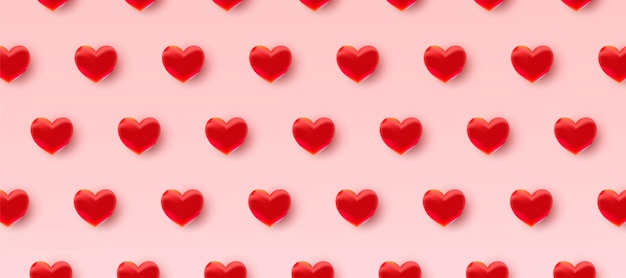 Padrão do dia dos namorados com corações vermelhos 3d