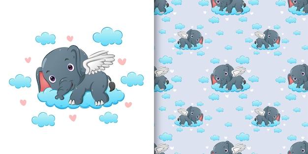 Padrão do elefante com as asas deitado na nuvem colorida