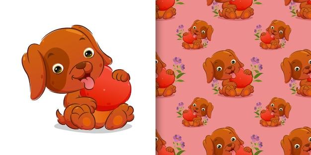 Padrão do filhote de cachorro bonito está sentado e segurando uma ilustração de boneca de coração
