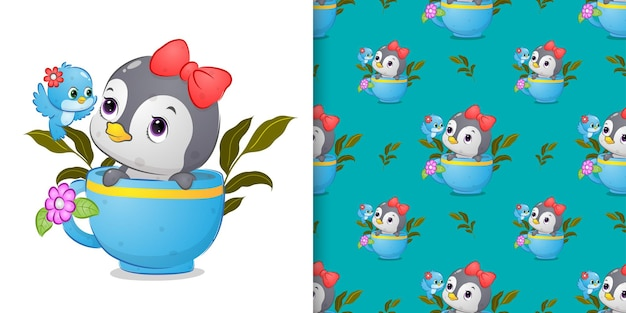 Padrão do pinguim fofo na xícara de chá falando com o pássaro colorido