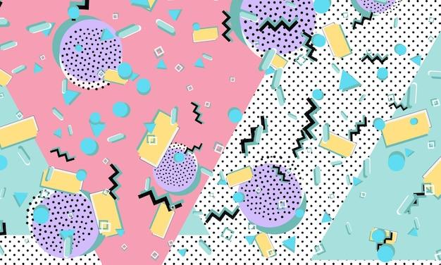 Padrão dos anos 90. estilo de memphis. fundo retro abstrato. ilustração vetorial. estilo moderno dos anos 80-90.
