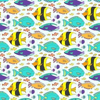 Padrão dos peixes do doodle do vetor. textura sem costura marinha desenhada a mão. tecido de tecido ou tecido infantil
