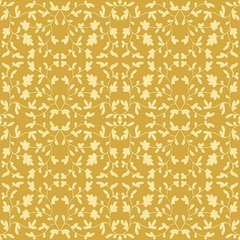 Padrão elegante de ouro vitoriano fundo decorativo de vetor sem costura ornamento vintage amarelo dourado