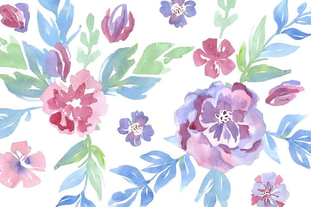 Padrão elegante em flores em aquarela