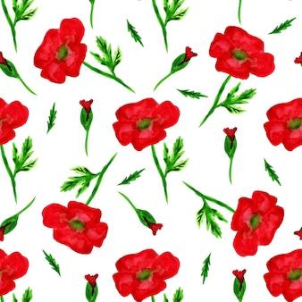 Padrão elegante sem costura com aquarela pintada de flores vermelhas de papoula, elementos de design. padrão floral para convites de casamento, cartões, scrapbooking, impressão, embrulho, fabricação