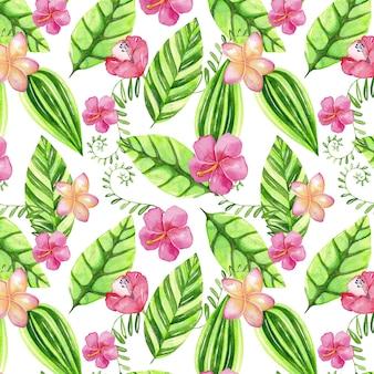 Padrão em aquarela com flores e folhas tropicais