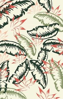 Padrão em folha de palmeira verde escuro, verde e vermelho. vintage
