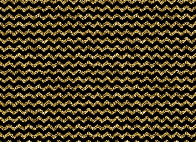 Padrão em zigue-zague de glitter dourado em fundo preto