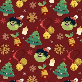 Padrão engraçado de natal com pinheiros