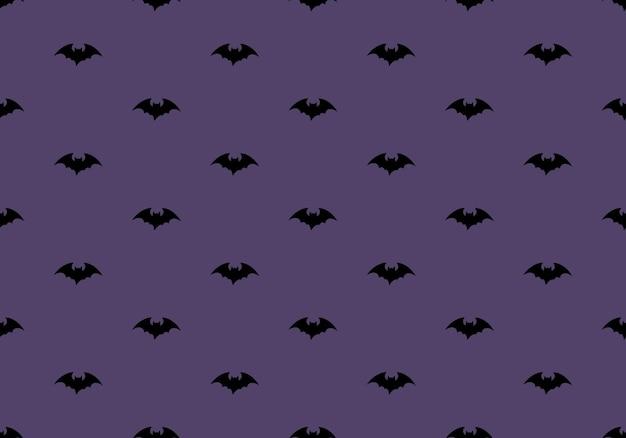 Padrão escuro com morcegos pretos sobre fundo roxo halloween festivo outono decoração outubro holida ...