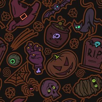 Padrão escuro místico. feriado de halloween. ilustração vetorial