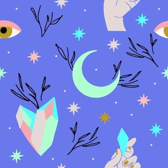 Padrão esotérico místico com olhos lunares e estrelas